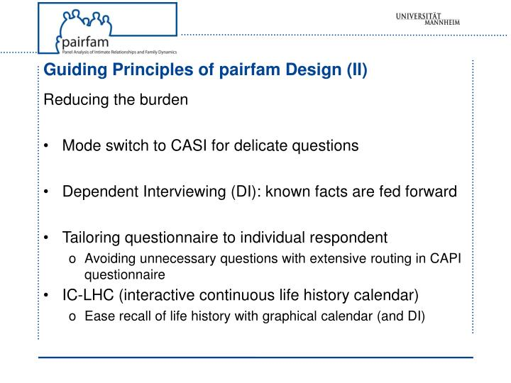 Guiding Principles of pairfam Design (II)