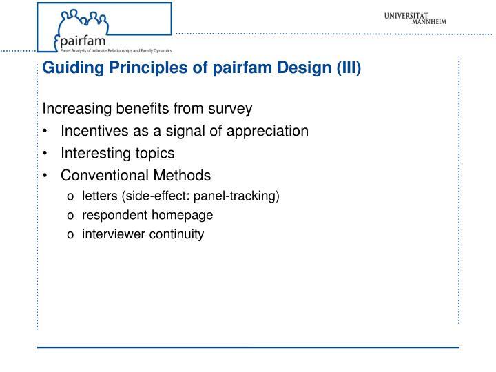 Guiding Principles of pairfam Design (III)