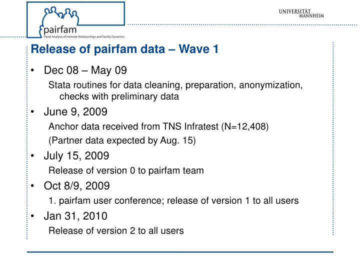 Release of pairfam data – Wave 1