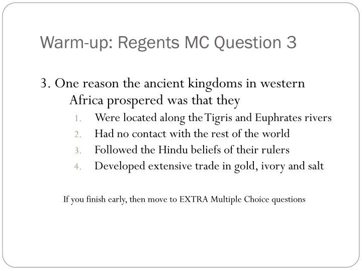 Warm up regents mc question 3