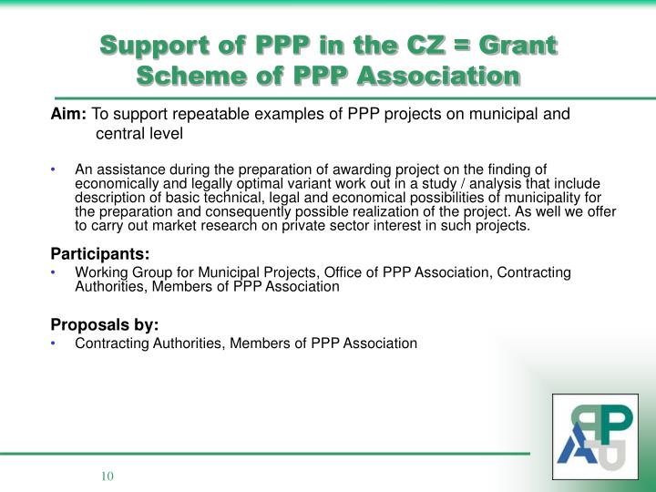 Support of PPP in the CZ = Grant Scheme of PPP Association