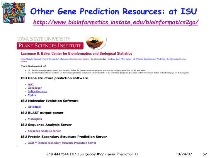 Other Gene Prediction Resources: at ISU