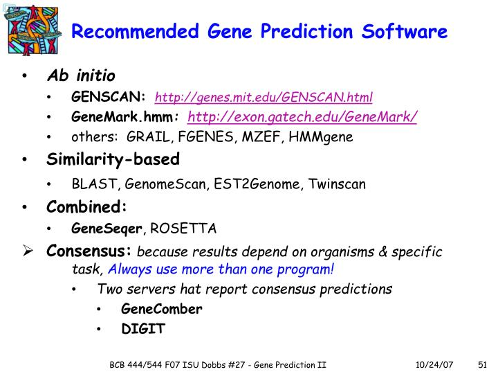 Recommended Gene Prediction Software
