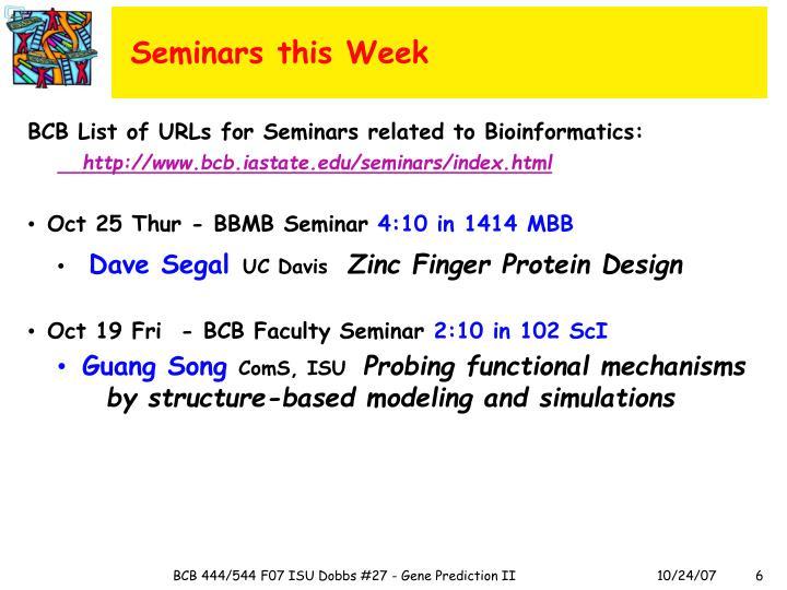 Seminars this Week