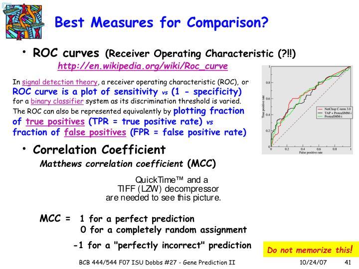 Best Measures for Comparison?
