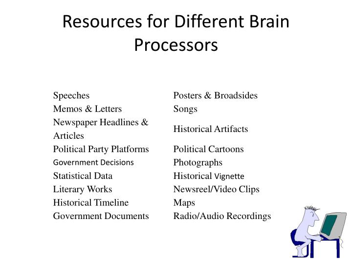 Resources for Different Brain Processors
