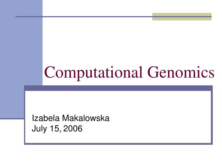Computational Genomics