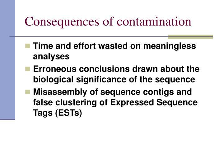Consequences of contamination