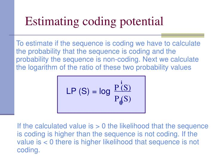 Estimating coding potential