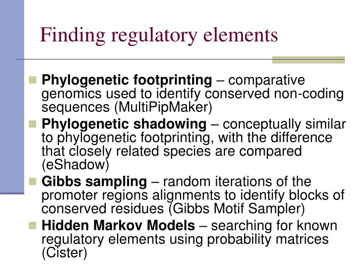 Finding regulatory elements