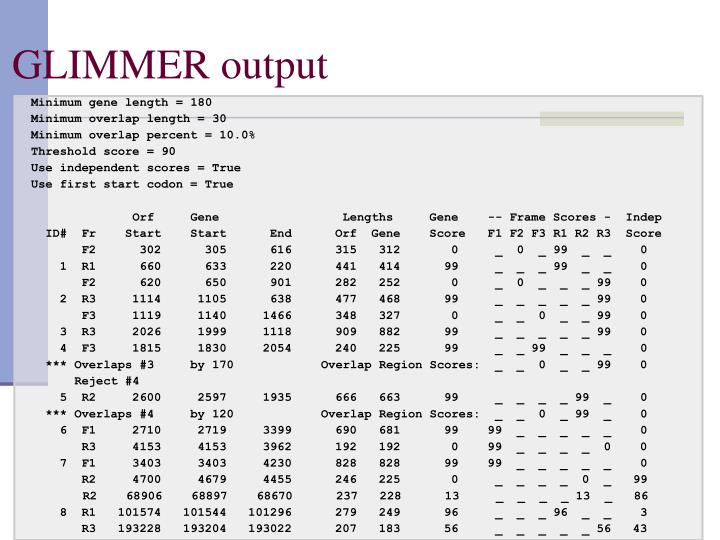 GLIMMER output