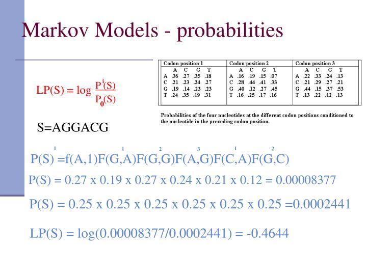 Markov Models - probabilities