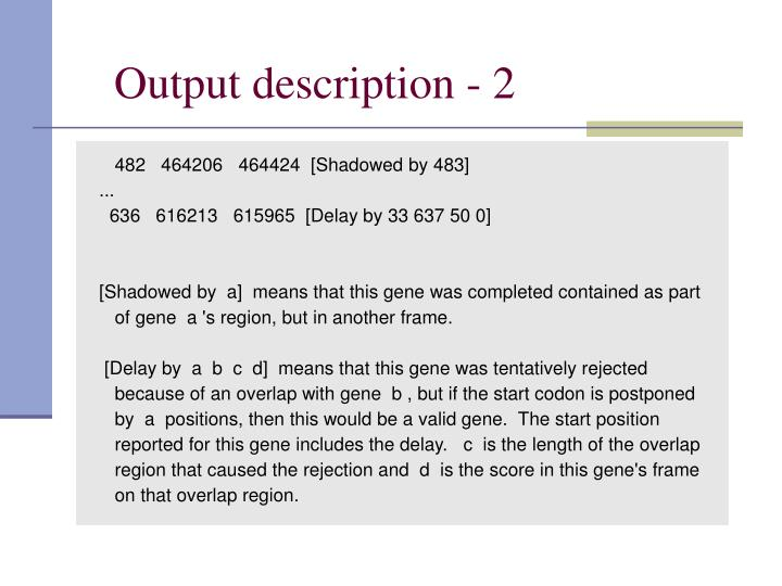Output description - 2