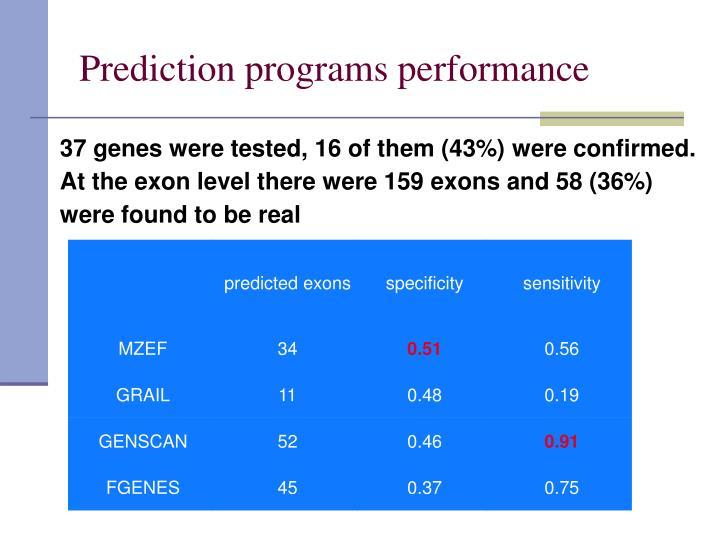 Prediction programs performance