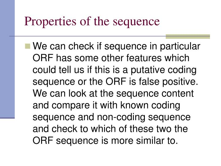Properties of the sequence