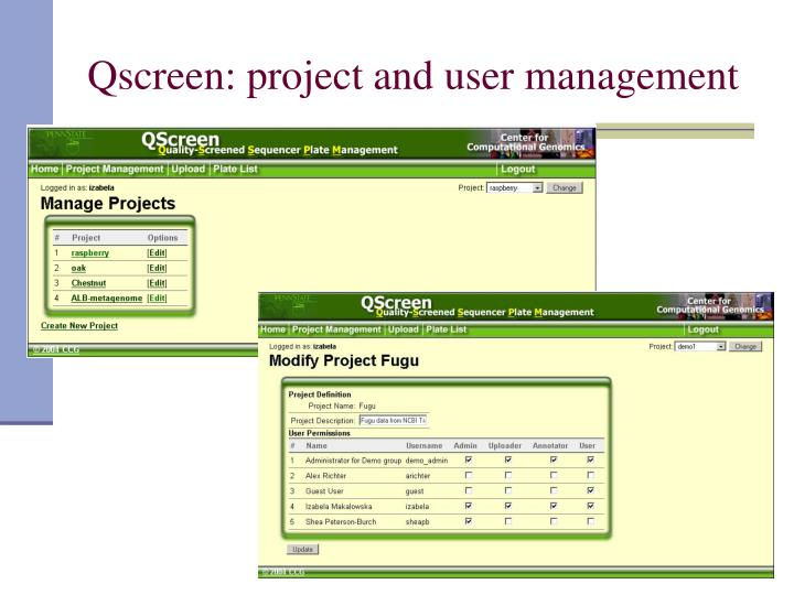 Qscreen: project and user management