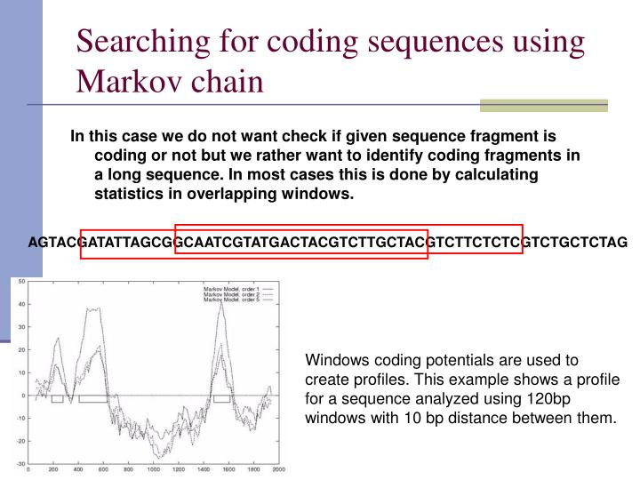 Searching for coding sequences using Markov chain
