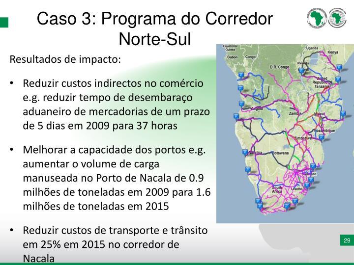 Caso 3: Programa do Corredor Norte-Sul