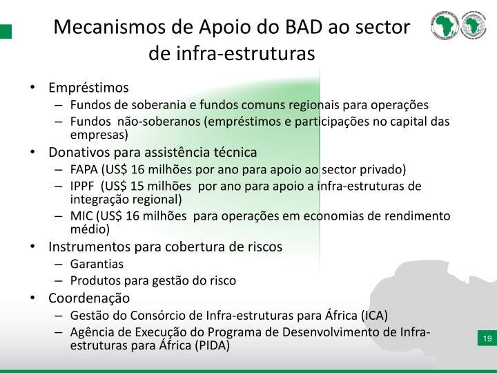 Mecanismos de Apoio do BAD ao sector de infra-estruturas