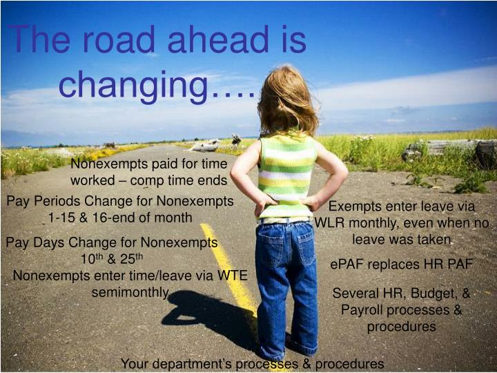 The road ahead is changing….