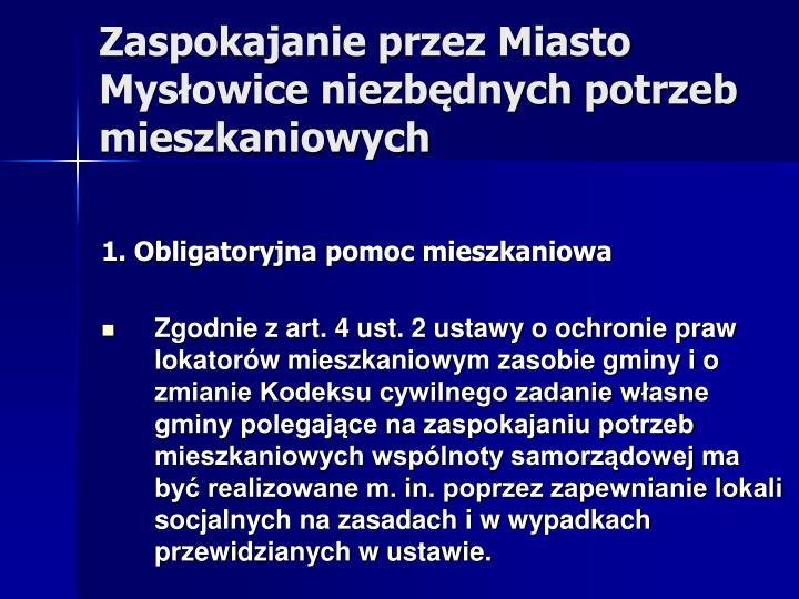 Zaspokajanie przez Miasto Mysłowice niezbędnych potrzeb