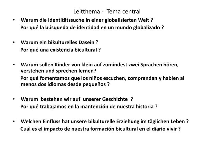 Leitthema tema central
