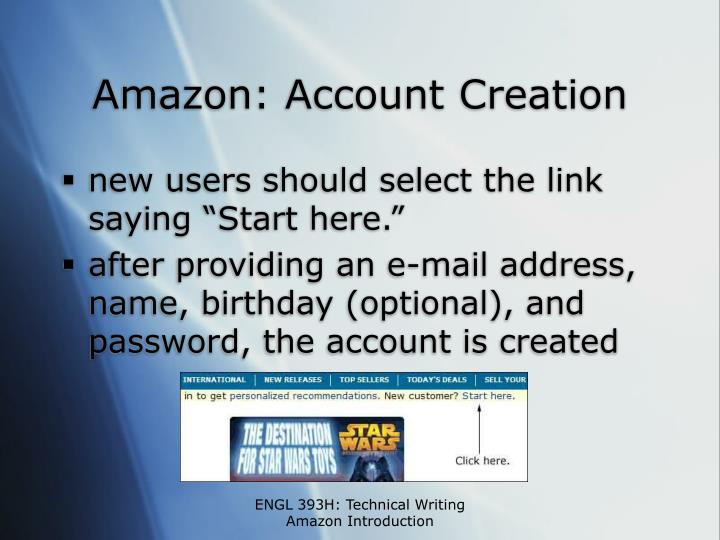 Amazon: Account Creation