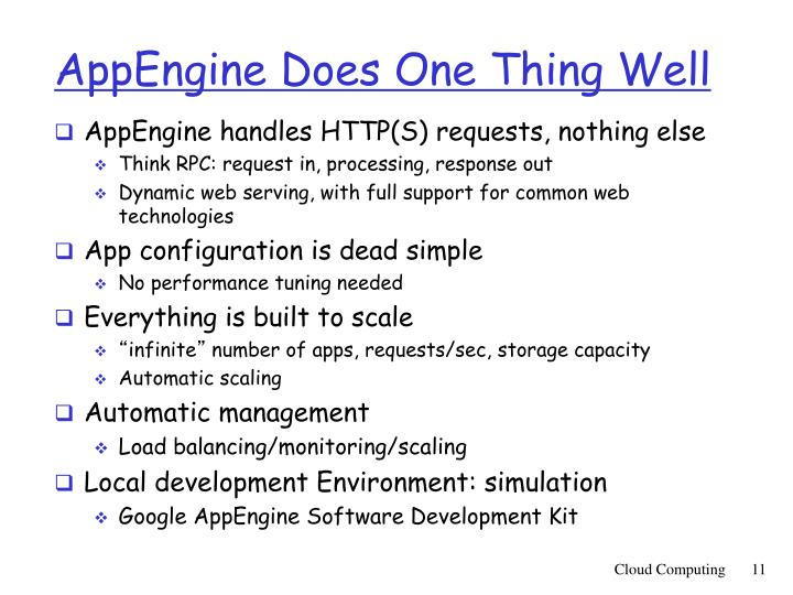 AppEngine Does One Thing Well