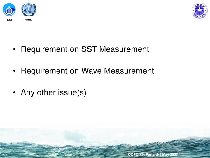 Requirement on SST Measurement