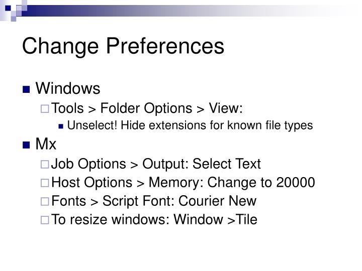 Change Preferences