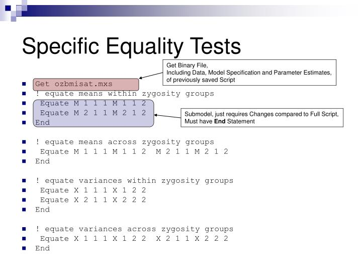Specific Equality Tests