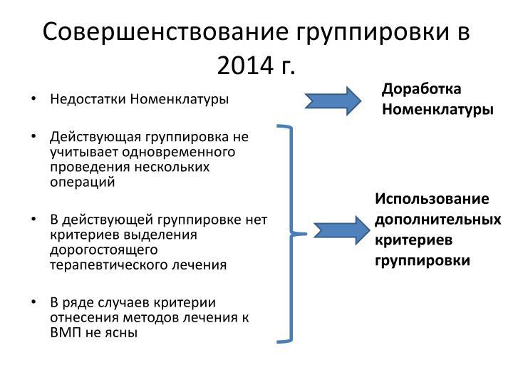 Совершенствование группировки в 2014 г.