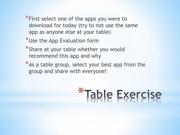 First select one of the apps you were to download for today (try to not use the same app as anyone else at your table)