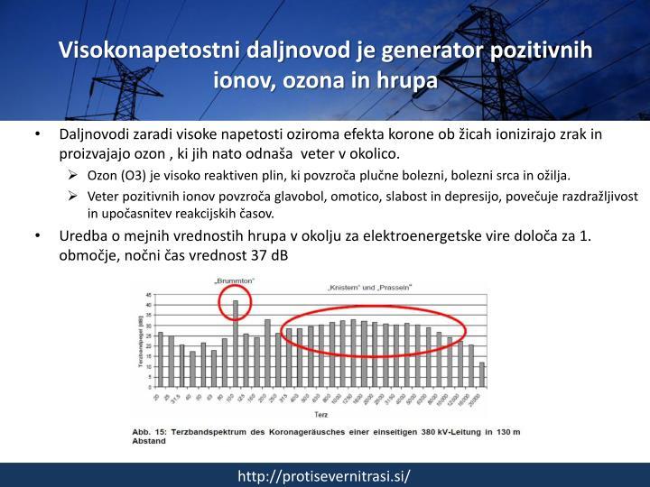 Visokonapetostni daljnovod je generator pozitivnih ionov, ozona in hrupa