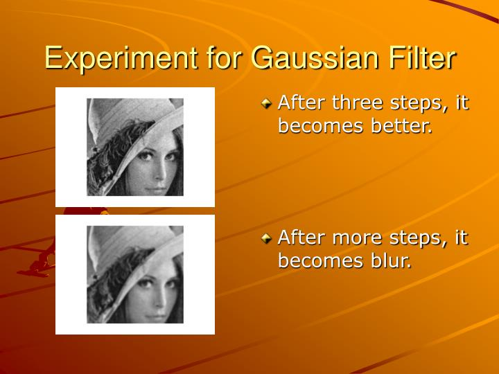 Experiment for Gaussian Filter