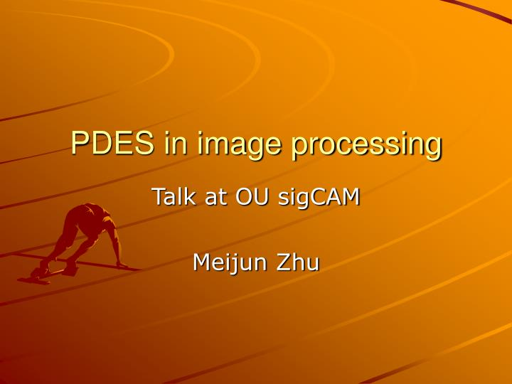 PDES in image processing