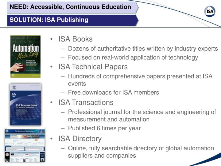 NEED: Accessible, Continuous Education