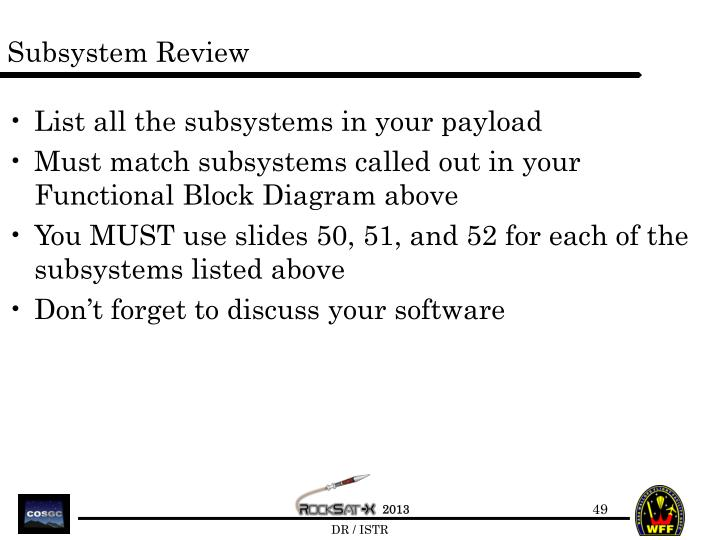 Subsystem Review