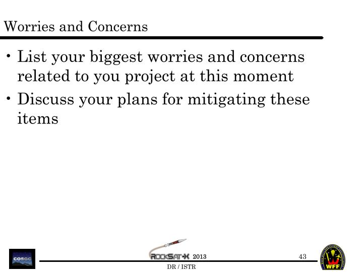 Worries and Concerns