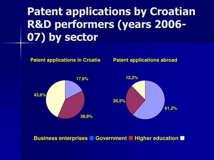 Patent applications by Croatian R&D performers (years 2006-07) by sector