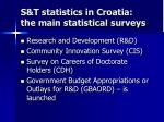 s t statistics in croatia the main statistical surveys