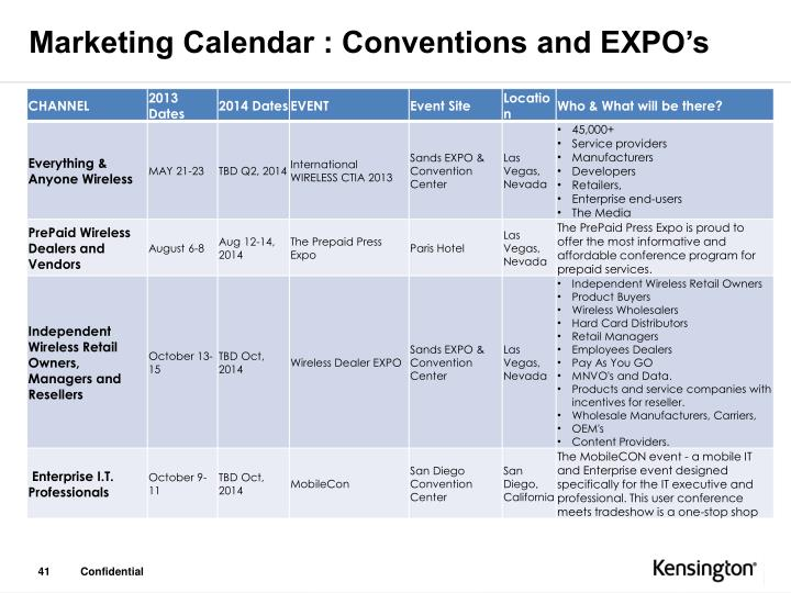 Marketing Calendar : Conventions and EXPO's