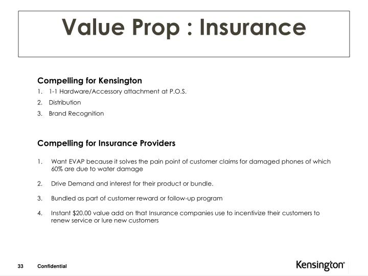 Value Prop : Insurance