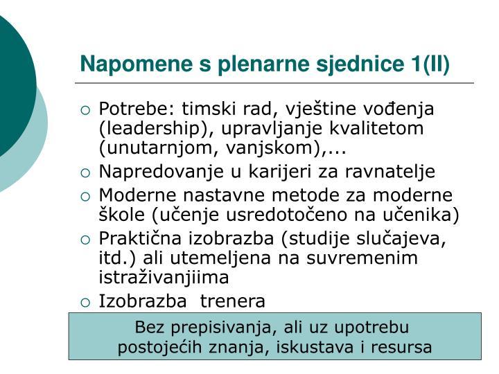 Napomene s plenarne sjednice 1