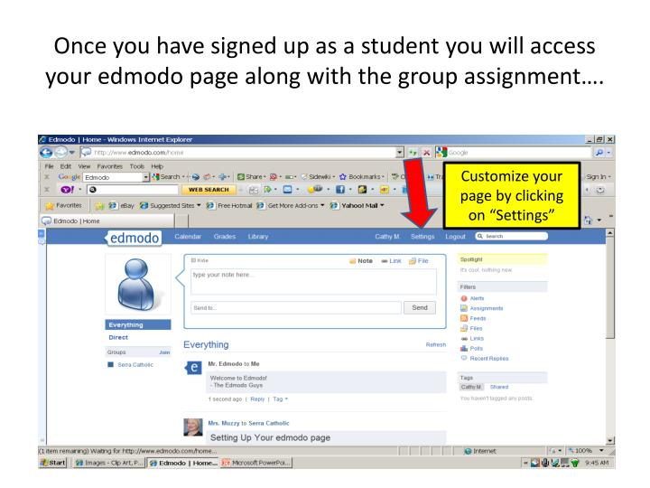 Once you have signed up as a student you will access your