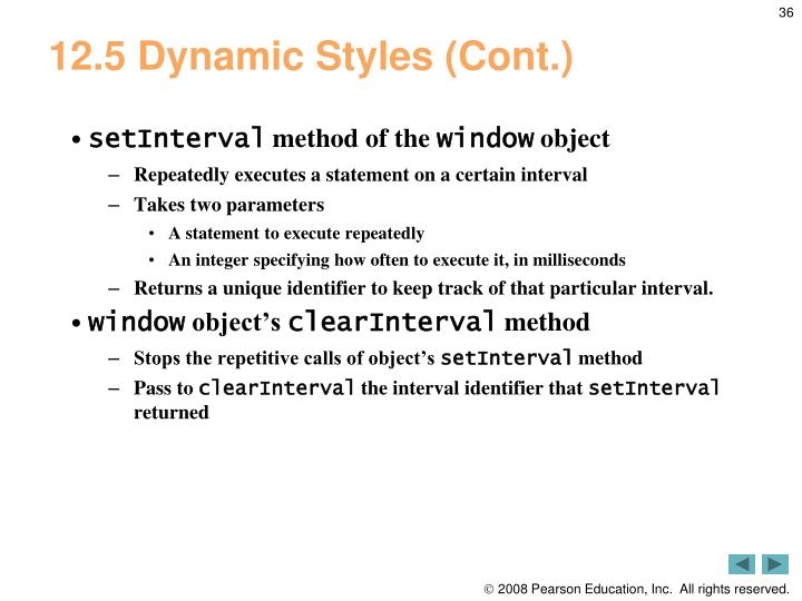 12.5 Dynamic Styles (Cont.)