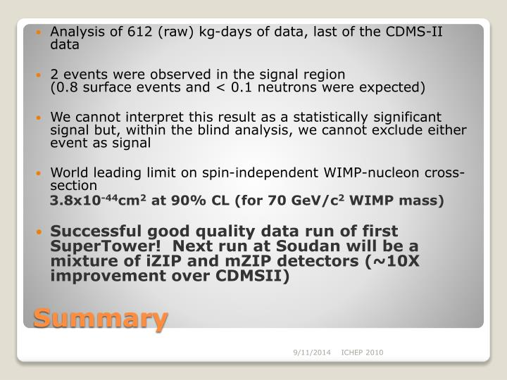 Analysis of 612 (raw) kg-days of data, last of the CDMS-II data