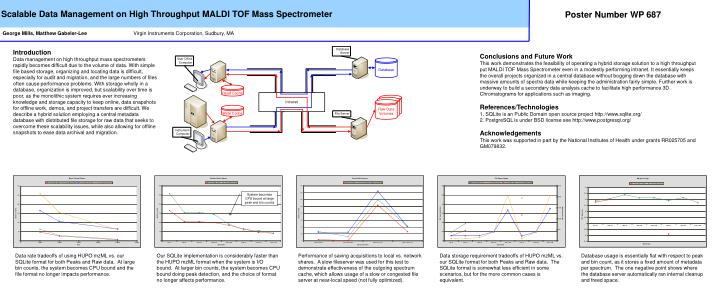 Scalable Data Management on High Throughput MALDI TOF Mass Spectrometer