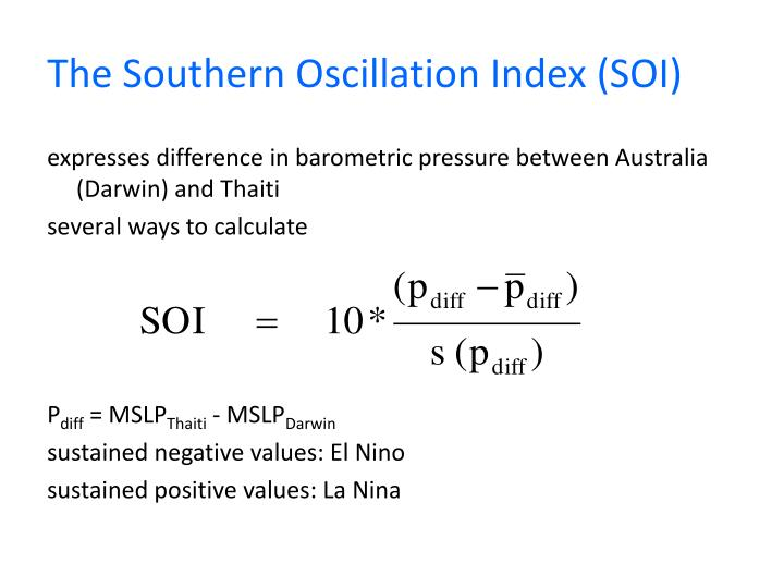 The Southern Oscillation Index (SOI)