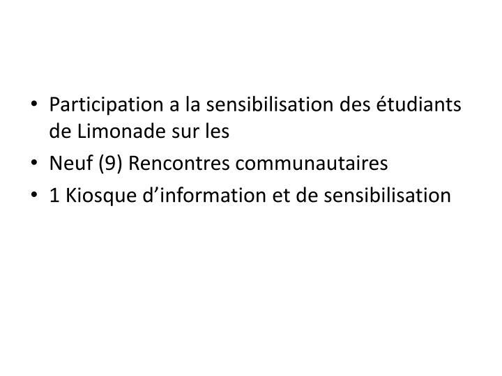 Participation a la sensibilisation des étudiants de Limonade sur les